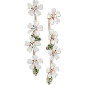 Betsey Johnson Flower Front Back Linear Earrings